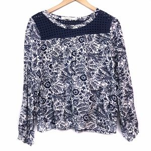 SOLITAIRE Navy Blue Cream Floral Crochet Blouse